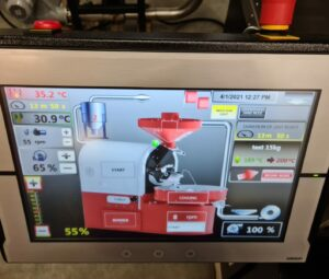 control touch screen for coffee roaster